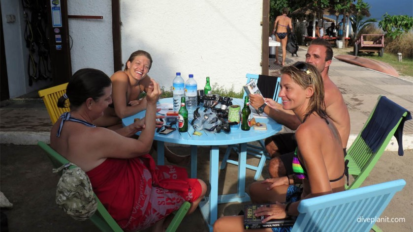 Relaxing with friends after the dive diving with turtles Dive Gili at Gili Air Lombok Indonesia Diveplanit