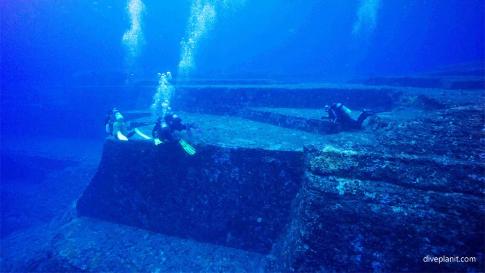 Divers for scale at Yonaguni Monument diving Okinawa Japan Diveplanit