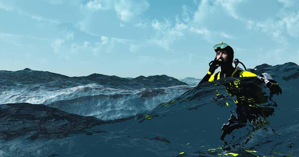 Diver in rough sea